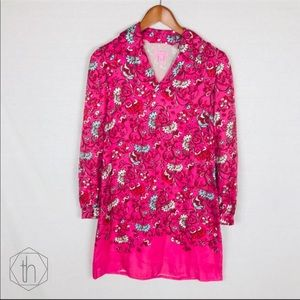 Lilly Pulitzer silk collared dress 0 pink